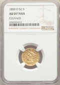 Liberty Quarter Eagles, 1850-O $2 1/2 -- Cleaned -- NGC Details. AU. NGC Census: (44/213). PCGS Population: (24/78). CDN: $775 Whsle. Bid for probl...