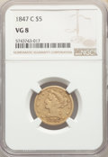 1847-C $5 VG8 NGC. NGC Census: (2/263). PCGS Population: (4/246). Mintage 84,151. ...(PCGS# 8233)