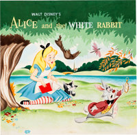 Alice and the White Rabbit Record Cover Original Art by Mel Crawford (Walt Disney, 1951)