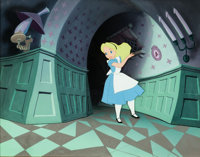Alice in Wonderland Production Cel on Key Master Production Background (Walt Disney, 1951)