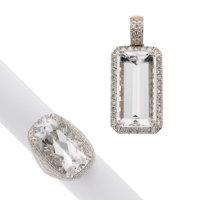 Rock Crystal Quartz, Diamond, White Gold Jewelry ... (Total: 2)