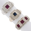 Estate Jewelry:Rings, Ruby, Sapphire, Diamond, White Gold Rings. ... (Total: 3 Items)
