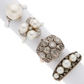Estate Jewelry:Rings, Cultured Pearl, Diamond, Gold, Silver Rings. ... (Total: 4 Items)