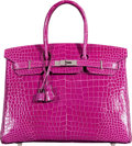 Luxury Accessories:Bags, Hermès 35cm Shiny Rose Scheherazade Porosus Crocodile Birkin Bag with Palladium Hardware. Q Square, 2013. Condition: 3...