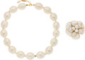"""Luxury Accessories:Accessories, Chanel Set of Two: Oval Pearl Necklace with Detachable Pearl Camellia Brooch. Condition: 2. 19"""" Length. ... (Total: 2 )"""