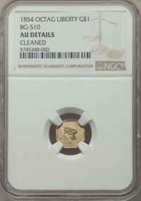 1854 $1 Liberty Octagonal 1 Dollar, BG-510, Low R.5, -- Cleaned -- NGC Details. AU. NGC Census: (0/20). PCGS Population:...