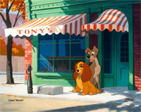 Lady and the Tramp Color Model Cel with Key Master Background for Limited Edition (Walt Disney, c. 1990s)