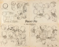 Porky Pig Studio Model Sheet Original Artwork (Warner Brothers, 1947)