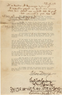 Elias Disney/O-Zell Company Signed Contract (Walt Disney, 1918)