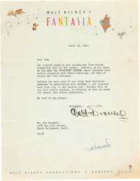 Walt Disney Signed Letter on Fantasia Letterhead (Walt Disney, 1941)