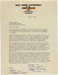 Memorabilia:Disney, Letter to Roy Disney from Kay Kamen (Walt Disney, 1934)....