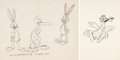 Animation Art:Color Model, Bugs Bunny Gets the Boid Bugs Bunny and Beaky Buzzard Model Sheet Drawings Group of 2 (Warner Brothers, 1942). ... (Total: 2 Original Art)