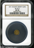 California Fractional Gold: , 1871 25C Liberty Round 25 Cents, BG-813, R.3, AU58 NGC....