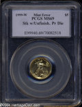 Errors: , 1999-W Tenth-Ounce Gold Eagle $5 Error--Struck with Unfinished Proof Dies--MS69 PCGS....