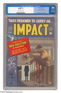Impact #1 Gaines File pedigree 9/12 (EC, 1955) CGC VF/NM 9.0 Cream to off-white pages. Crandall, Evans, and Ingels art...