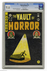 """Vault of Horror #16 Gaines File pedigree 4/11 (EC, 1950) CGC NM+ 9.6 Off-white pages. In """"The Grave Wager,"""" a..."""