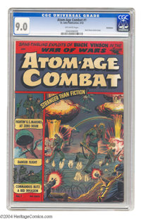Atom-Age Combat V1#1 Bethlehem pedigree (St. John, 1952) CGC VF/NM 9.0 Off-white pages. The fears of the Cold War era we...