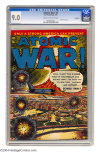 Atomic War! #3 Bethlehem pedigree (Ace, 1953) CGC VF/NM 9.0 Cream to off-white pages. This issue's atomic bomb cover cer...