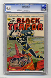 The Black Terror #18 (Nedor Publications, 1947) CGC NM 9.4 Off-white to white pages. A superb Alex Schomburg cover is th...