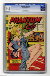 Phantom Lady #16 Mile High pedigree (Fox Features Syndicate, 1948) CGC NM 9.4 Off-white pages. Matt Baker turns on the &...