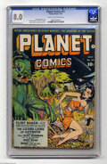 Golden Age (1938-1955):Science Fiction, Planet Comics #25 (Fiction House, 1943) CGC VF 8.0 Cream tooff-white pages. An appealing lineup of artists was on hand for ...