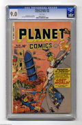 Golden Age (1938-1955):Science Fiction, Planet Comics #63 (Fiction House, 1949) CGC VF/NM 9.0 White pages. Fiction House rarely disappointed when it came to covers,...