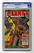 Golden Age (1938-1955):Science Fiction, Planet Comics #64 (Fiction House, 1950) CGC VF 8.0 Off-white towhite pages. Robot cover. George Evans art. Only one copy of...