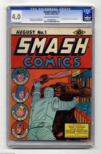 Smash Comics #1 (Quality, 1939) CGC VG 4.0 Cream to off-white pages. Overstreet calls this the first robot cover in comi...