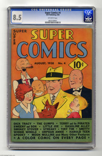 """Super Comics #4 (Dell, 1938) CGC VF+ 8.5 Off-white pages. Gerber's Photo-Journal terms this issue """"scarce,"""" es..."""