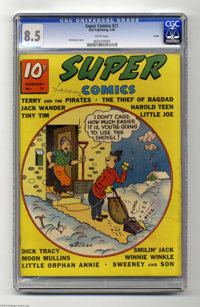 Super Comics #21 Larson pedigree (Dell, 1940) CGC VF+ 8.5 White pages. This copy from the famous Lamont Larson collectio...