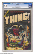 Golden Age (1938-1955):Horror, The Thing! #17 (Charlton, 1954) CGC FN- 5.5 Cream to off-whitepages. Steve Ditko cover. Bob Powell and Dick Ayers art. Over...