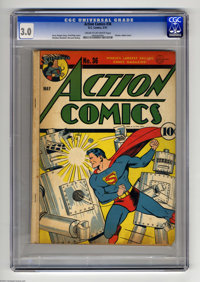 """Action Comics #36 (DC, 1941) CGC GD/VG 3.0 Cream to off-white pages. """"Classic robot cover"""" according to Overst..."""