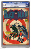 Golden Age (1938-1955):Superhero, Batman #7 (DC, 1941) CGC VG/FN 5.0 Cream to off-white pages. The Joker's wild in this early Batman issue! Oddly, the Mad Har...