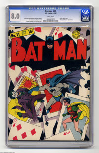 Batman #11 (DC, 1942) CGC VF 8.0 White pages. This classic cover features Batman's arch-nemesis, the Joker, getting his...
