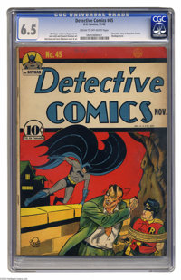Detective Comics #45 (DC, 1940) CGC FN+ 6.5 Cream to off-white pages. The Joker made his Detective debut in this issue...