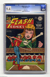 Flash Comics #90 (DC, 1947) CGC NM 9.4 White pages. It's not a pedigree book, but this stunning copy is easily the fines...