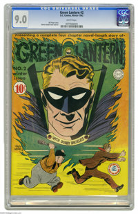 Green Lantern #2 (DC, 1941) CGC VF/NM 9.0 White pages. It's the first book-length Green Lantern story! The hero's all sm...