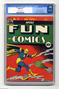 """More Fun Comics #71 (DC, 1941) CGC VF/NM 9.0 Off-white to white pages. Overstreet dubs this book's surreal cover a """"..."""