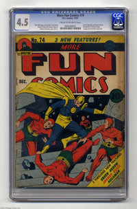 More Fun Comics #74 (DC, 1941) CGC VG+ 4.5 Cream to off-white pages. Aquaman and Green Arrow had debuted just one issue...