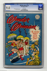 Wonder Woman #26 (DC, 1947) CGC VF/NM 9.0 White pages. H. G. Peter's cover is an all-female affair, and that plus the ar...
