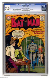 Batman #110 (DC, 1957) CGC FN/VF 7.0 Cream to off-white pages. Jail cell cover by Curt Swan. Joker story. Dick Sprang an...