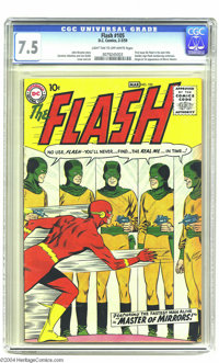 The Flash #105 (DC, 1959) CGC VF- 7.5 Light tan to off-white pages. His successful tryout appearances in Showcase having...