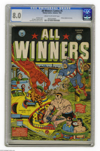 All Winners Comics #5 (Timely, 1942) CGC VF 8.0 Cream to off-white pages. Timely's Big Three of Captain America, Sub-Mar...
