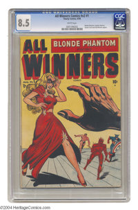 All Winners Comics V2#1 (Timely, 1948) CGC VF+ 8.5 White pages. The revival of this great title lasted for only one issu...