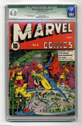 Golden Age (1938-1955):Superhero, Marvel Mystery Comics #6 File Copy (Timely, 1940) CGC Qualified VG 4.0 Light tan to off-white pages. This copy has a fascina...