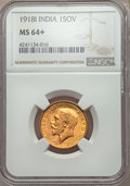 India:British India, India: British India. George V gold Sovereign 1918-I MS64+ NGC,...