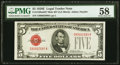 Small Size:Legal Tender Notes, Fr. 1530 $5 1928E Mule Legal Tender Note. PMG Choice About Unc 58.. ...