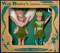 Walt Disney's Peter Pan and Tinker Bell Doll Set in Original Box (Duchess Doll Corporation, 1953)