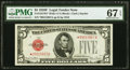 Small Size:Legal Tender Notes, Fr. 1531* $5 1928F Wide I Legal Tender Note. PMG Superb Gem Unc 67 EPQ.. ...