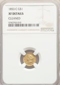 Gold Dollars, 1853-C G$1 -- Cleaned -- NGC Details. XF. NGC Census: (4/131). PCGS Population: (8/99). CDN: $1,400 Whsle. Bid for problem-...